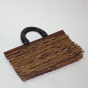 Vintage Natural Twig Purse Clutch Bag Tribal Unusu